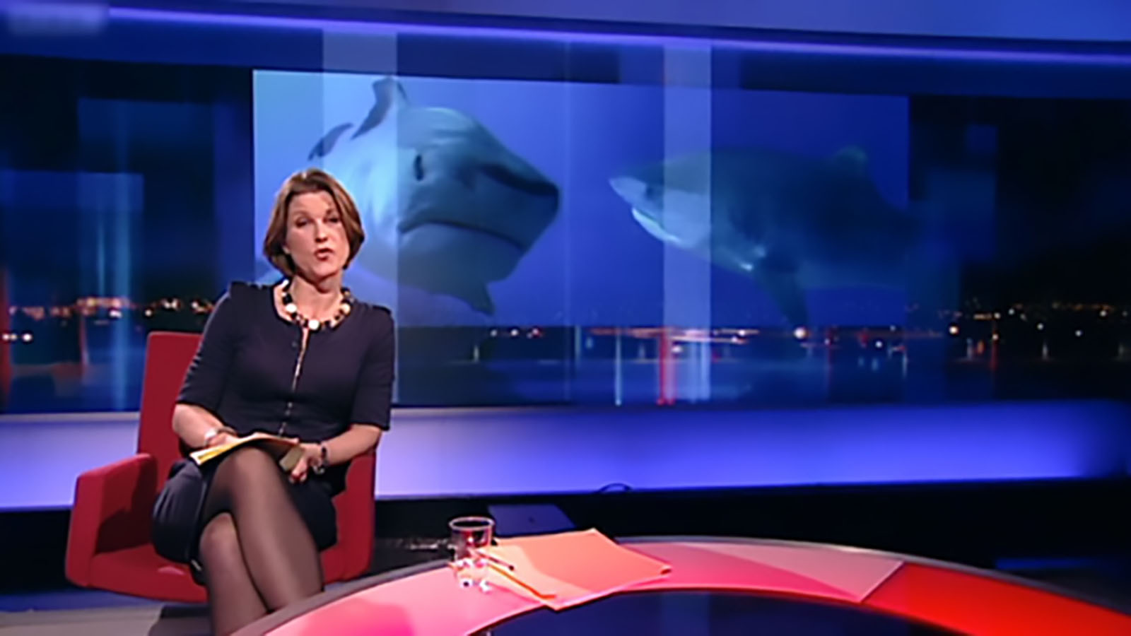 newsnight studio with stephanie flanders